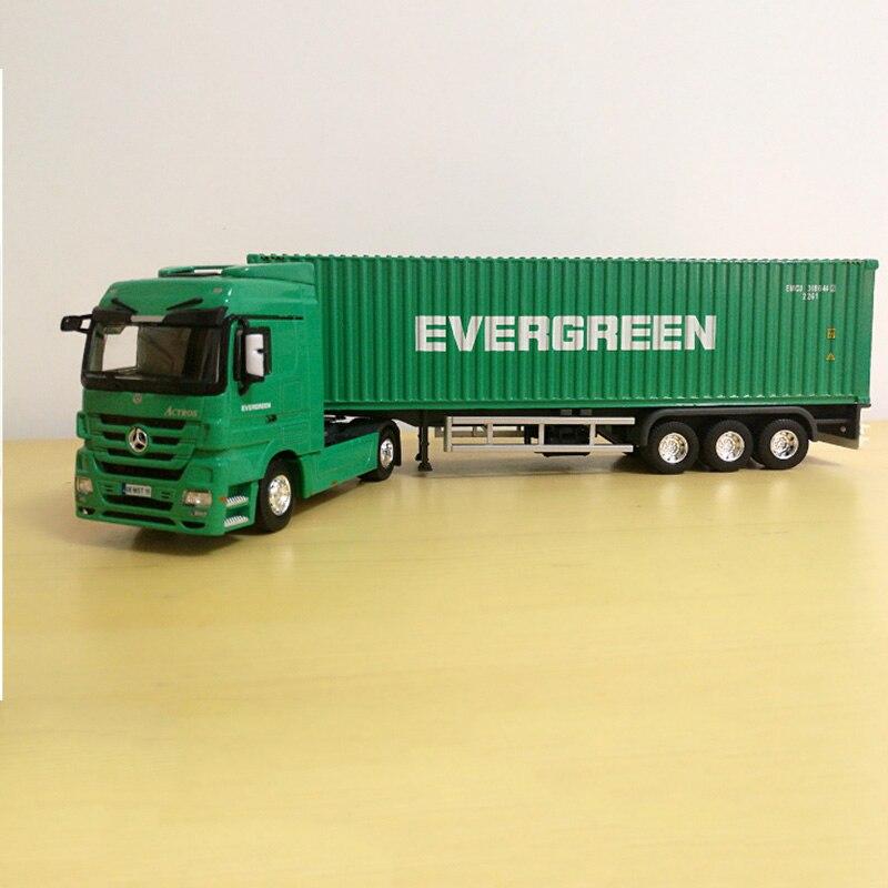 1:50 échelle alliage métal camion remorque conteneur à feuilles persistantes fret logistique Auto moulé sous pression modèle ingénierie véhicule Collections