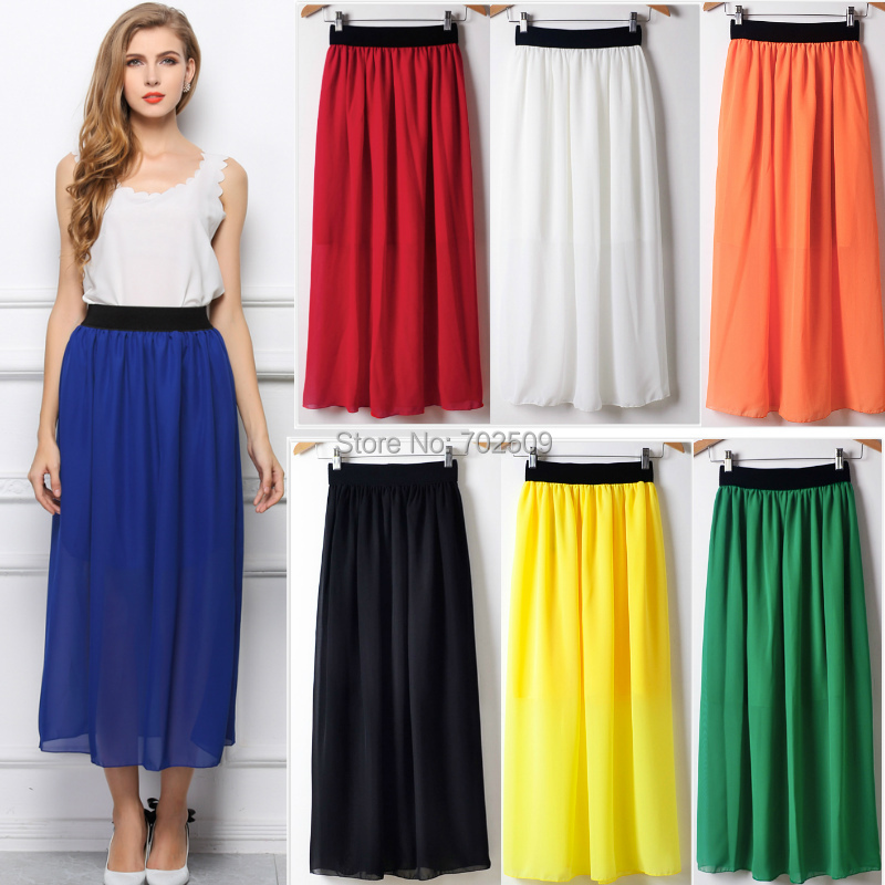 86b4bcb618 Hot Sale 20 colors long Skirts for women 2019 summer new fashion western  loose chiffon beach