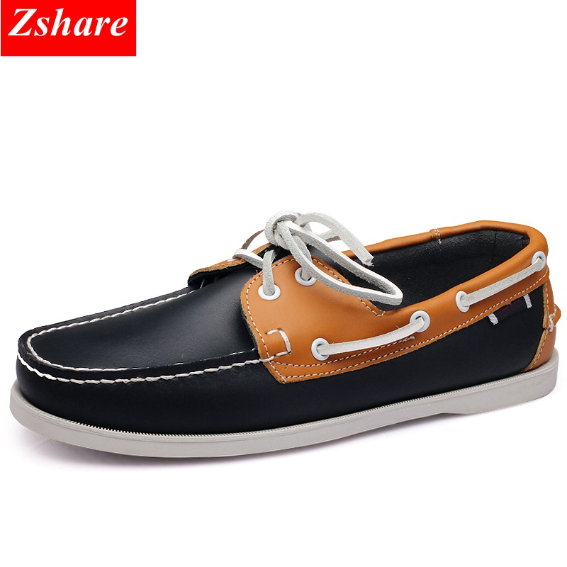 Genuine Leather Men Boat Shoes Luxury Brand Design Hand Sewing Slip-On Mens Loafers Casual Driving Moccasins Business Men Shoes