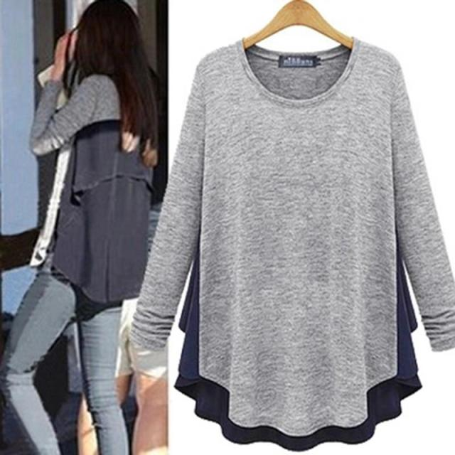 Europe Station 2017 Spring New Large Size Women's Spring Clothing Long Section Of Loose Long-sleeved T-shirt Bottoming Europe