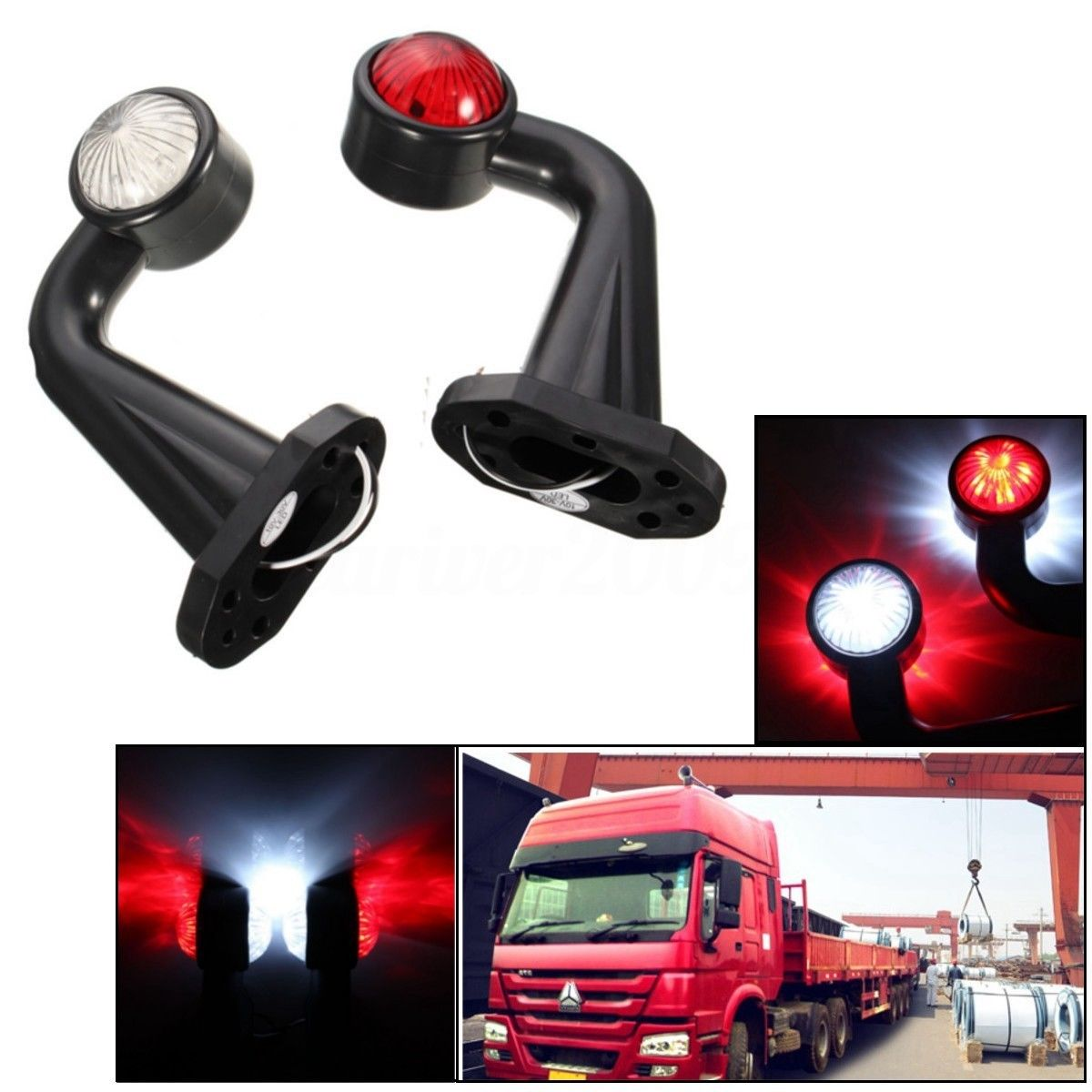 2Pcs Car External Lights 12 LED 12V 24V Truck Elbow Side Marker Indicator Light Lamp Side Marked Lamp For Truck Trailer Lorry beayukmui