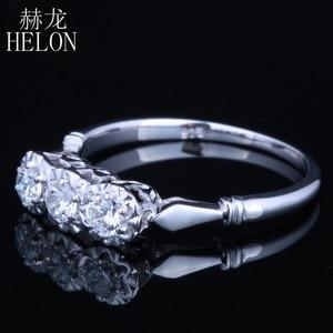 Image 2 - HELON Solid 10k White Gold Jewelry 0.3ct Genuine Moissanites Diamond Ring Engagement Wedding Exquisite Women Three Stone Ring