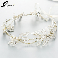 Crystal Silver Leaves Headbands Bridal Tiara Wedding Hair Accessories Bridal Headpiece Handmade Ornaments Hairband Hair Jewelry