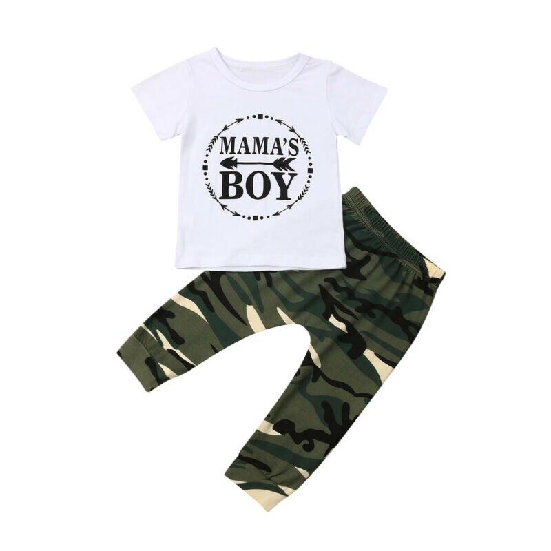0-24M Newborn Kids Baby Boys Clothes MAMA´S BOY Short Sleeve Tops T-shirt+Camouflage Long Pants 2Pcs Outfit Set Tracksuit
