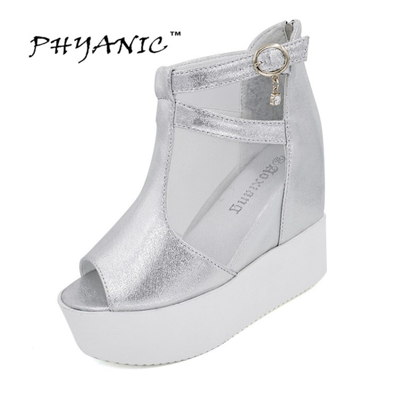 PHYANIC 2017 Mesh Gladiator Sandals Silver Summer Creepers Casual Women Ankle Boots Back Zipper Woman Platform Shoes PHY5039 phyanic 2017 gladiator sandals gold silver shoes woman summer platform wedges glitters creepers casual women shoes phy3323