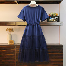 Women Short Sleeve Patchwork Sequined Casual Dresses