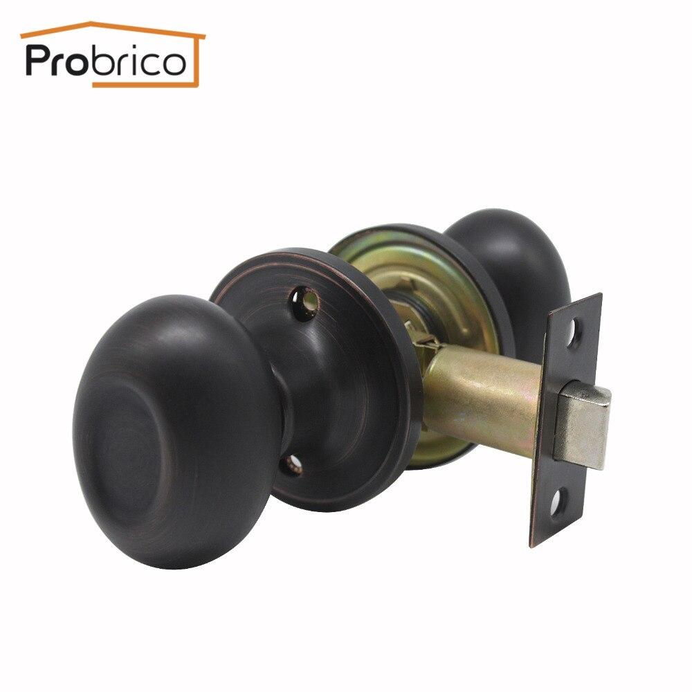 Probrico Egg Head Keyless Interior Door Locks Modern Oil Rubbed Bronze Security Interior Door Handle For Homes Passage Door Lock