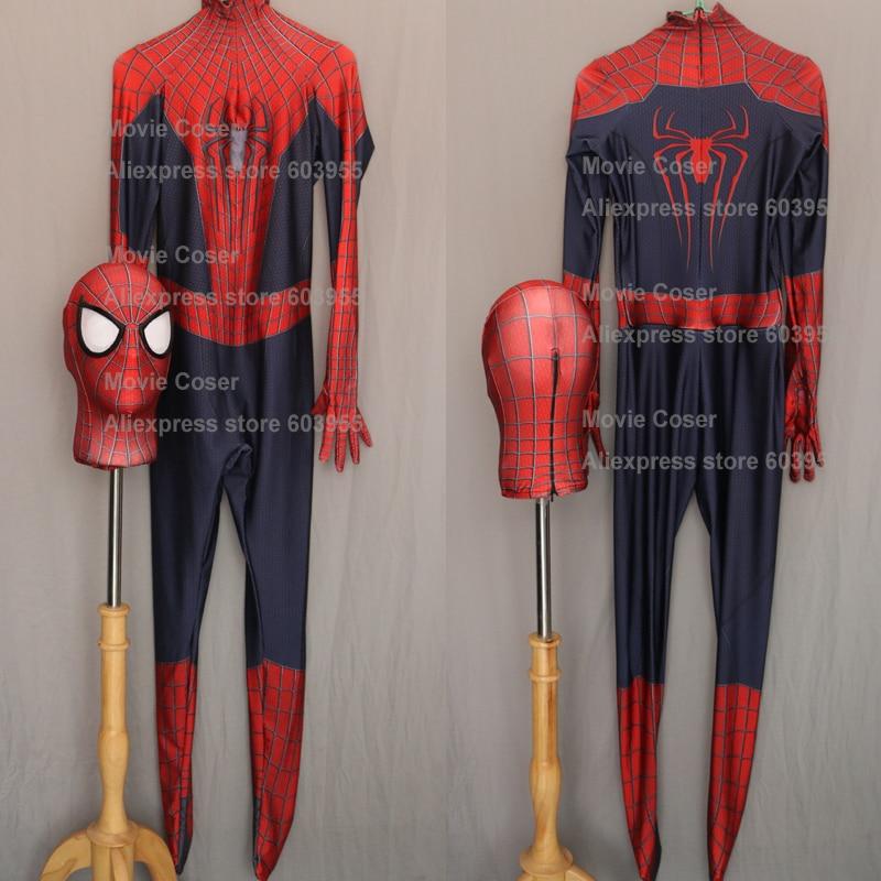 Movie Coser Custom Made High Quality <font><b>Amazing</b></font> Spider man <font><b>Costume</b></font> <font><b>Adult</b></font> <font><b>Spiderman</b></font> Zentai Suit New <font><b>Spiderman</b></font> Spandex <font><b>Costume</b></font>