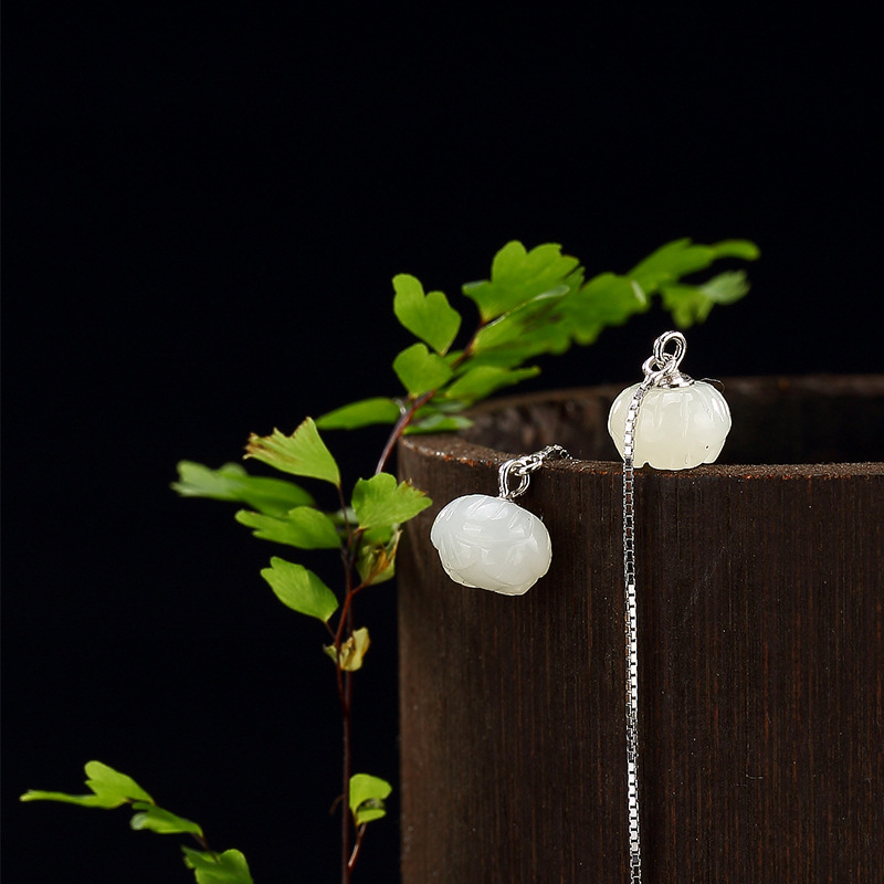 Natural Jade Earrrings Lotus Engraved Long Ear Line Real Pure 925 Sterling Silver Earrings For Women With Natural Stone