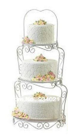 Trīs līmeņu dzelzs / nerūsējošā tērauda kūku statīvs kāzu - Virtuve, ēdināšana un bārs