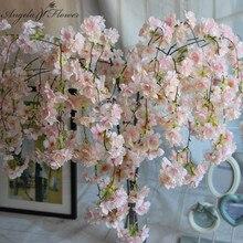 7 teile/los Natürliche vertikale seide kirschblüte blume reben DIY hochzeit Weihnachten decor Kirsche baum künstliche blume bouquet 92cm