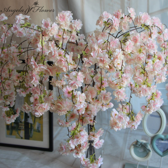 7pcs/lot Natural vertical silk cherry blossom for wedding decoration ...
