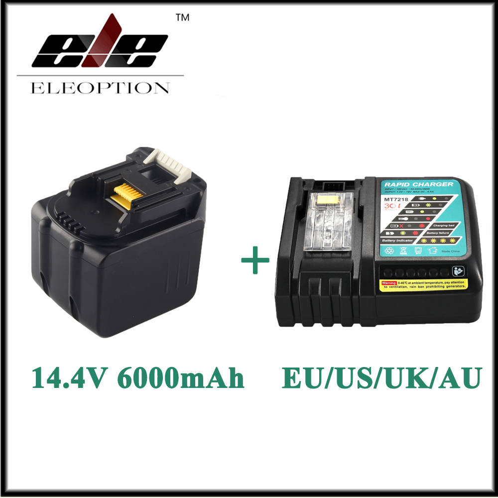 Eleoption 6000mAh 14.4V Li-Ion Battery For MAKITA BL1430 BL1415 194066-1 194065-3 194559-8 With 6.5A Rapid Charger цена