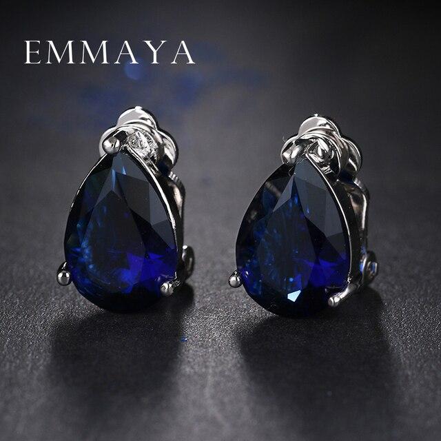 Emmaya Unique New Design Blue Crystal Clip Earrings Top Grade Cz Brincos White Gold Color