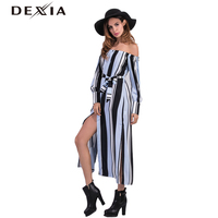 Dexia Vestidos De Fiesta Largos Elegantes De Gala Out Off Shoulder Long Sleeve Slash Neck Sashes