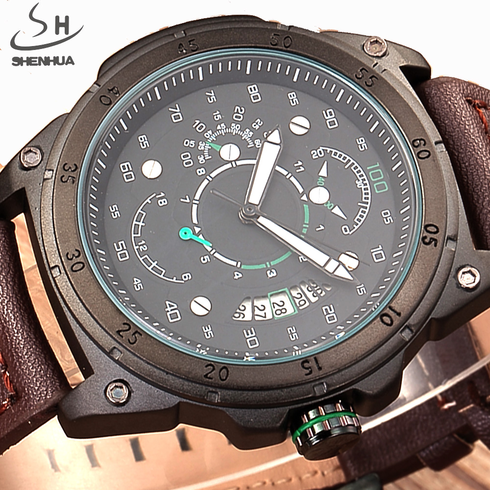 SHENHUA Sport Military Skeleton Mechanical Automatic Watch Men Watches Brand Leather Luxury Business Watch Relogio Masculino 2016 luxury brand luxury sport men automatic skeleton mechanical military watch male watch business casual leather watch