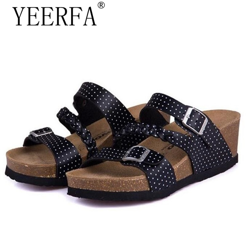 YEERFA Fashion Women Sandals Wedges Cork High Heels Shoes Gladiator Beach Shoes Summer Slippers Zapatos Mujer Sandalias 2017 summer shoes woman platform sandals women slippers leather casual open toe gladiator wedges women shoes zapatos mujer