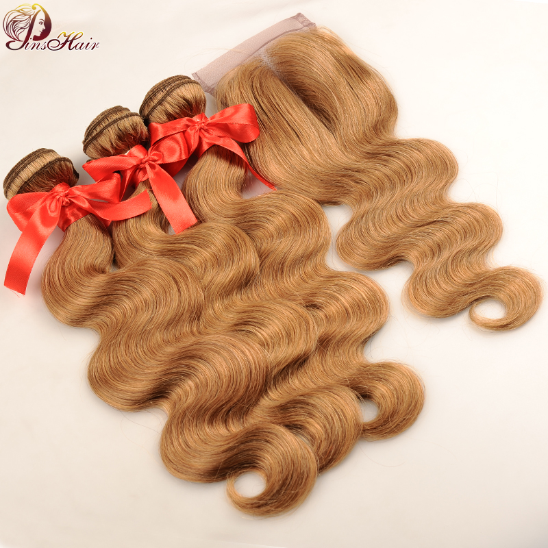 Pinshair Peruvian Hair 3 Bundles With Closure Honey Blonde #27 Colored Body Wave Human Hair Bundles With Closure No Shed Nonremy