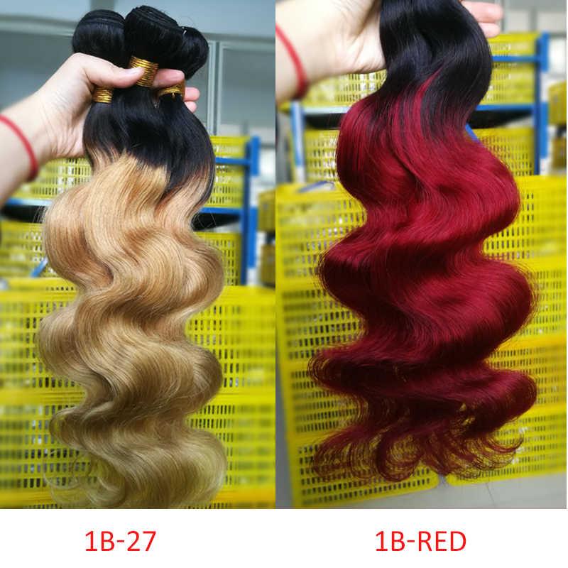 Lucky Queen Hair Brazilian Hair Weave Bundles 1b/Burgundy Red Blue 27 Honey Blonde Ombre Body Wave 3 Bundles Non Remy Human Hair