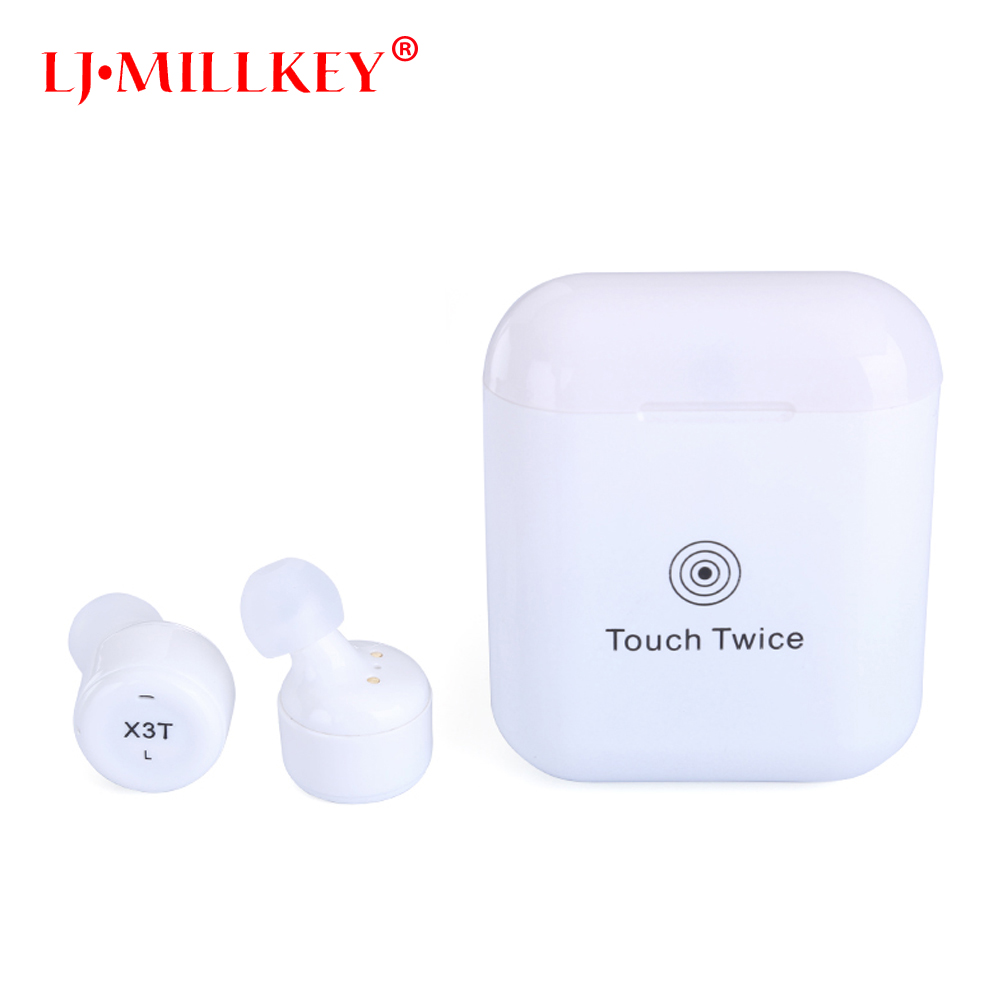 True Wireless Earbuds TWS X3T Mini Bluetooth Headset Earphone With 600mAH Charger Box Auriculares Bluetooth LJ-MILLKEY YZ138 remax 2 in1 mini bluetooth 4 0 headphones usb car charger dock wireless car headset bluetooth earphone for iphone 7 6s android
