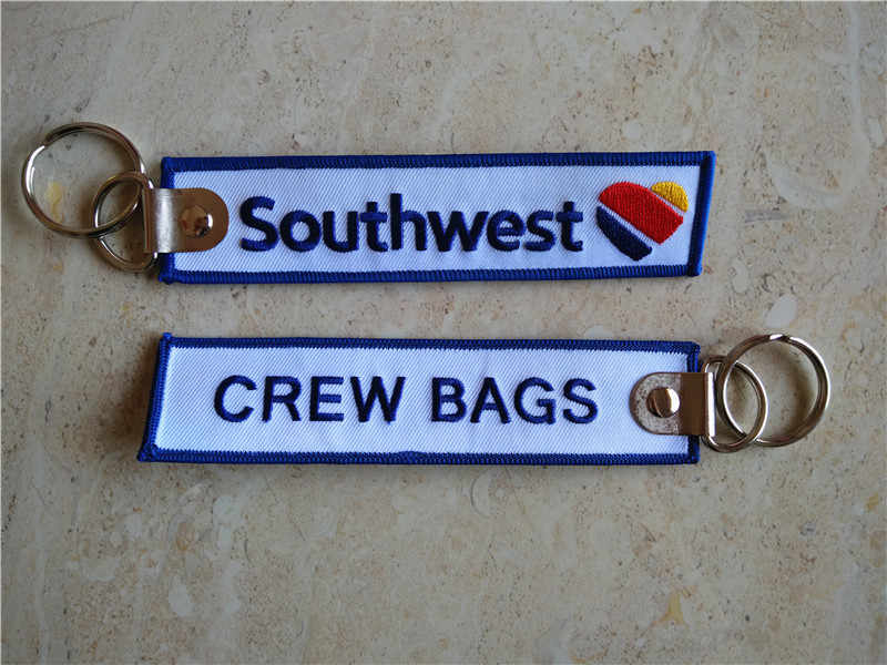 Zuidwesten Airlines Crew Zakken Tag Geborduurde Sleutelhanger Fabrikant