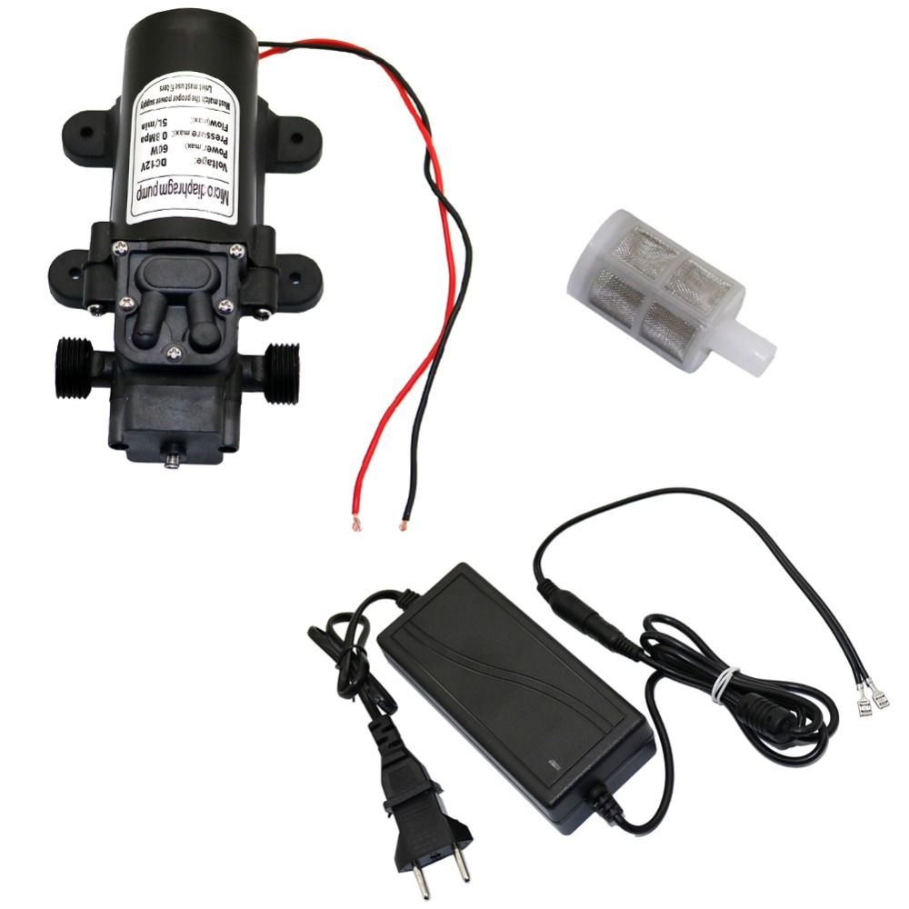 DC 12V 60W 18mm 1/2 Male Thread Interface Micro Diaphragm Water Pump With 12V-6A Adapter Garden irrigation Self-Priming BoosterDC 12V 60W 18mm 1/2 Male Thread Interface Micro Diaphragm Water Pump With 12V-6A Adapter Garden irrigation Self-Priming Booster
