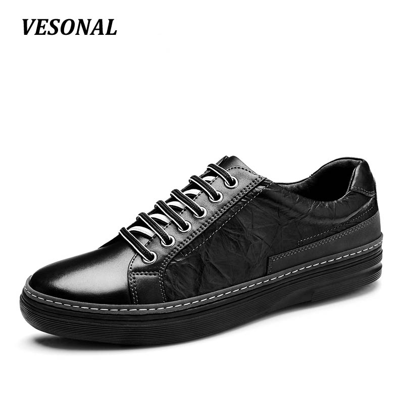 VESONAL Brand 100% Genuine Leather Mens Shoes Male Footwear men casual shoes Luxury Flat Fashion Designer Breathable SMQ76 vesonal 2017 quality mocassin male brand genuine leather casual shoes men loafers breathable ons soft walking boat man footwear