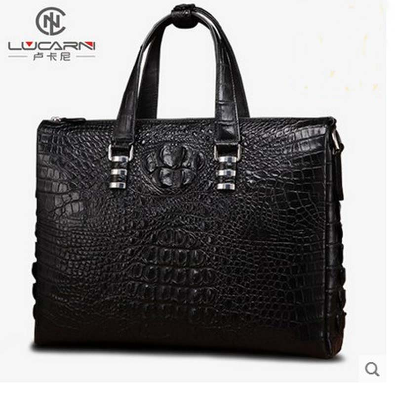 lukani Crocodile man handbag men's handbag large capacity leather business oblique shoulder bag men's briefcase