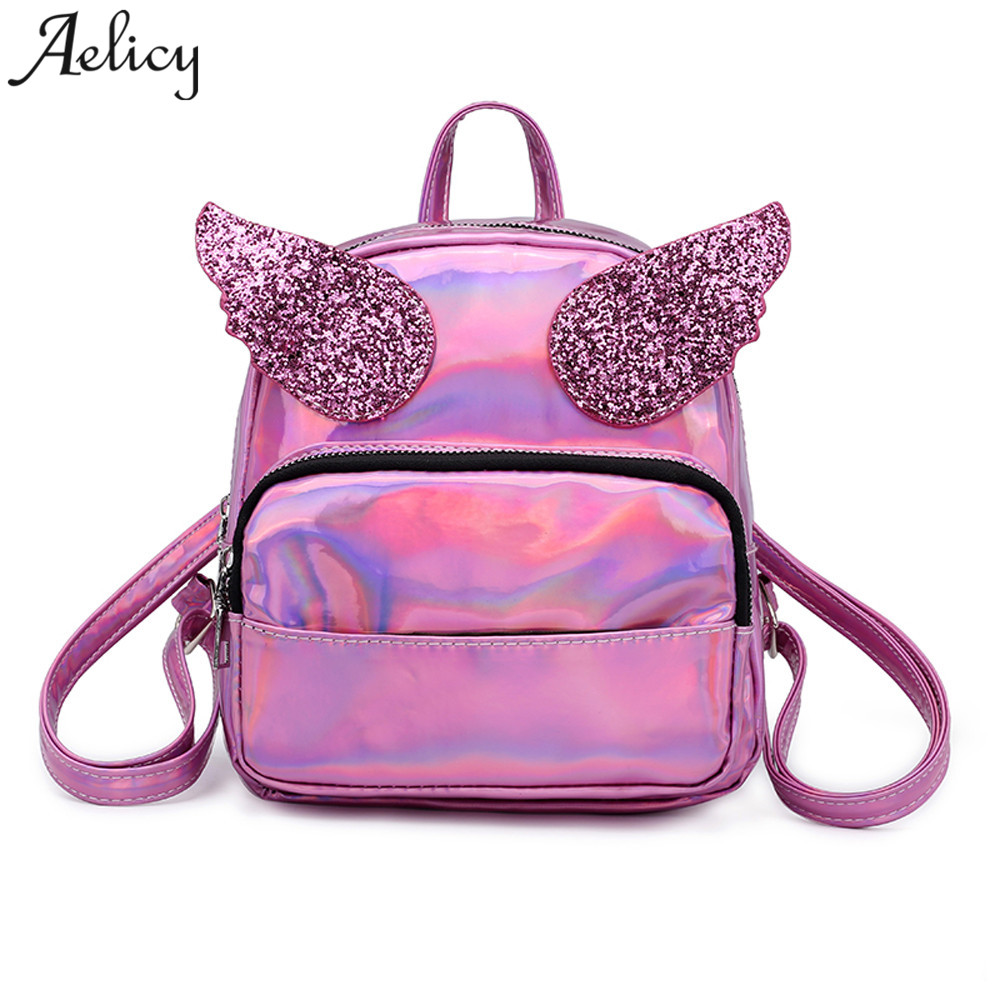 цена на Aelicy Mochila backpack Women Silver Hologram Laser Backpack School Bag Leather Holographic Backpack Multicolor sac a dos