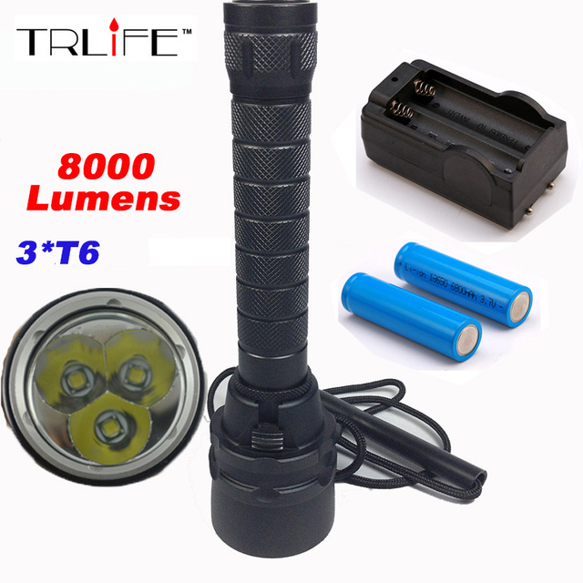 10000lm 200m Underwater Diving Flashlight Torch Dive for Flashlights 3xT6 LED Waterproof Light Lamp Aluminum 200m 4200lm xhp70 led diving flash light underwater waterproof diving flashlight torch dive lamp lanterna for patrolling camping
