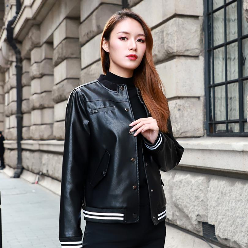 Spring fashion brand striped locomotive   leather   clothing female was thin stand collar pu   leather   jacket factory direct wq1029