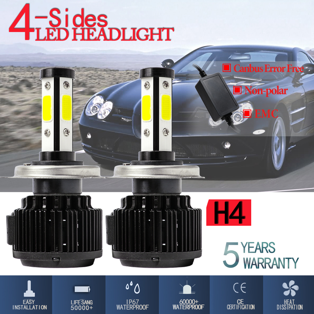 DIC X6 H4 4 Sides LED Headlights With Canbus 120W 32000LM