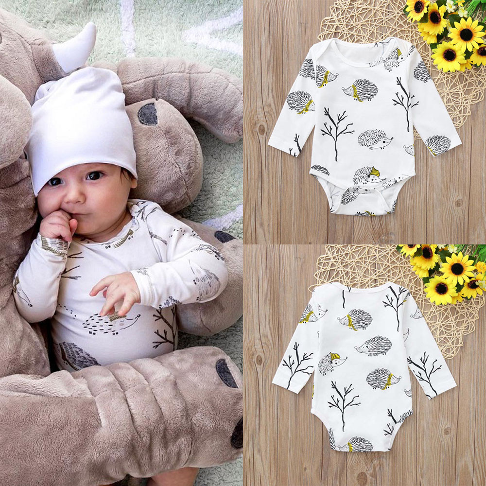 Winter Baby Clothes Newborn Infant Baby Girls Boys Long Sleeve Cartoon Hedgehog Print Jumpsuit   Romper   Clothes Baby   Romper