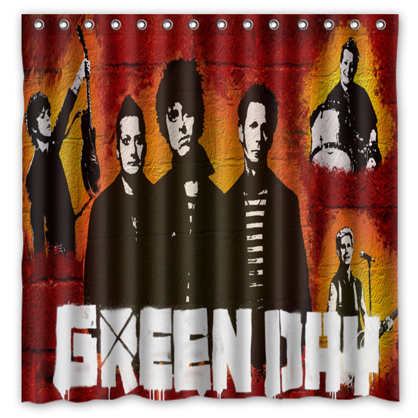 Polyester Fabric Bath Shower Curtain Green Day Waterproof Bathroom Decorative Curtains 180x180cm With White Hooks