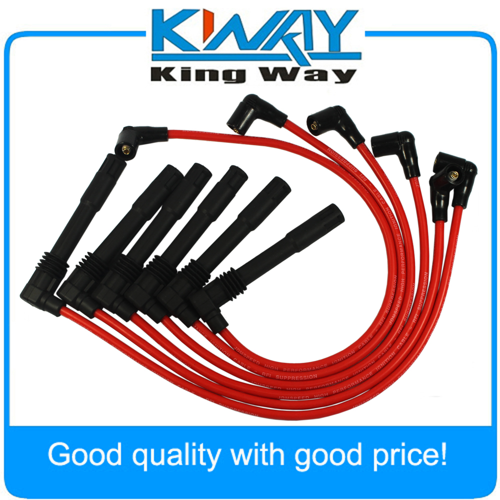 Red JDMSPEED Spark Plug Wire Set Fit for Volkswagen Passat Audi A4 A6 2.8L 671-6165 чехол для iphone 5 5s кораллово зеленый жук арт ip5 288 chocopony