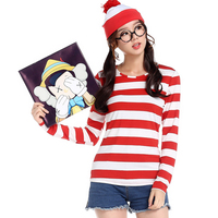Ladies Where Is Wally Fun And Fantasias Cosplay Costume XXL TV Character Fancy Dress Up Outfit