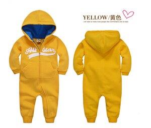 Image 4 - İlkbahar sonbahar bebek tulum kapşonlu bebek erkek giysileri yenidoğan pamuklu giysiler streetwear uzun kollu bebek erkek kız tulum