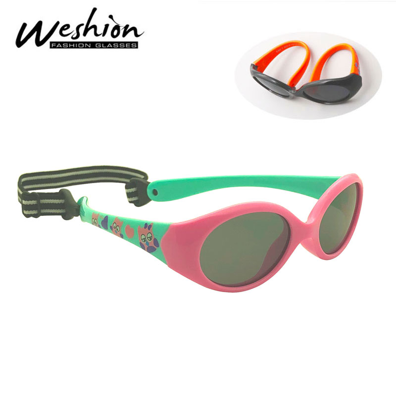 Little Kids Sunglasses Polarized For 1 2 3 Years Old Children Eyeglasses For Baby TR90 Flexible Safety Shades Boy Girl With Rope(China)