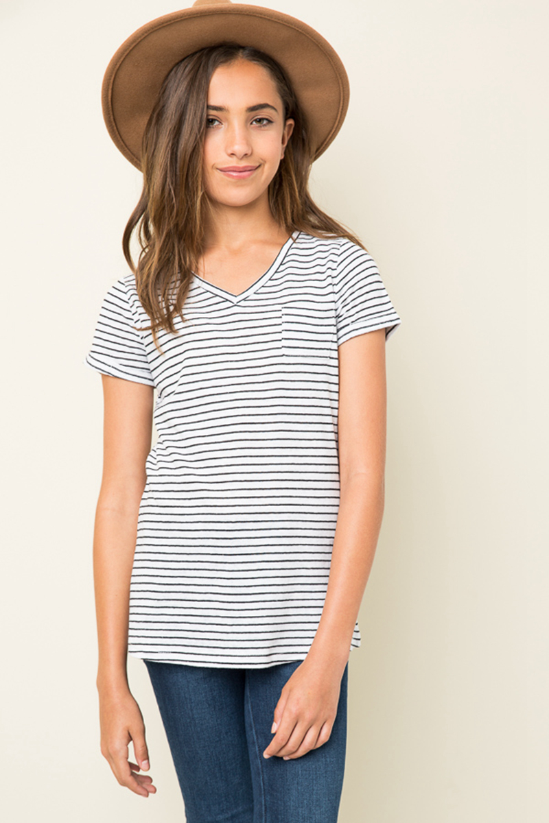 2017 Teenager Striped Cotton T-shirts Big Baby Girls Fashion V-neck Jumper Tops Babies Summer Casual Tees childrens clothing