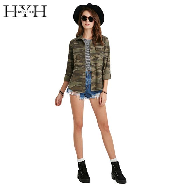 Hyh haoyihui 2017 brand new spring & summer casual moda feminina camouflage jacket bainha disposição casacos vogue senhoras casaco