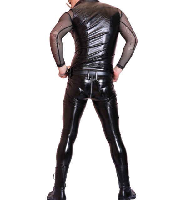 XXL Sexy Men Faux Leather Slim Vest Black PVC Shiny Jumpsuit Sexy Bodysuit Punk Club Dance Wear Light Standard Cool Wear FX100
