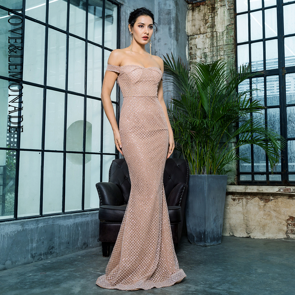 Love Lemonade Sexy Off the Shouleder Open Back Glue Bead Material Long Dress LM81343 2ROSEGOLD