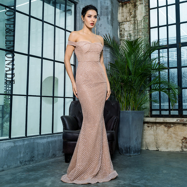 Love Lemonade Sexy Off the Shouleder Open Back Glue Bead Material Long Dress  LM81343-2ROSEGOLD 91eb99bbe342