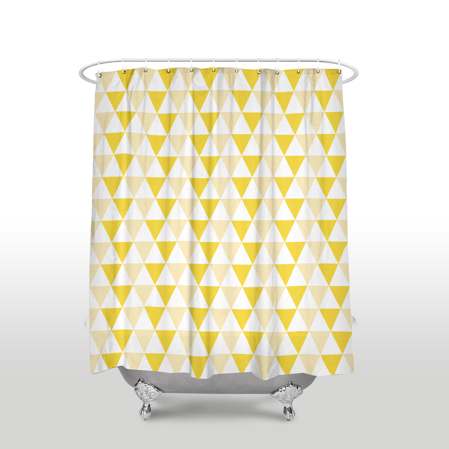 Us 16 97 45 Off Waterproof Simple Triangles Geometry Printed Shower Curtain Polyester Fabric Yellow White Bathroom Curtains For Home Decorations In