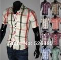 Estilo de verano 2017 Nuevo estilo de la Llegada hombres Camisa A Cuadros de manga corta Moda Casual hombres Camisas Camisa Masculina Sociales 16 colores