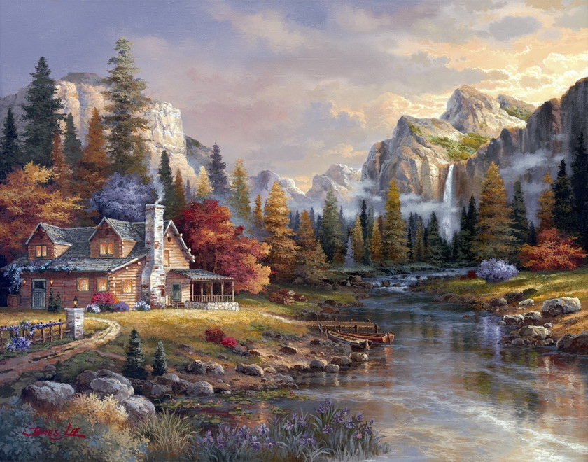 73x56cm Embroidery Mountain Flowing water House Forest Needlework 14CT Unprinted DMC DIY Cross Stitch Kits Handmade Arts