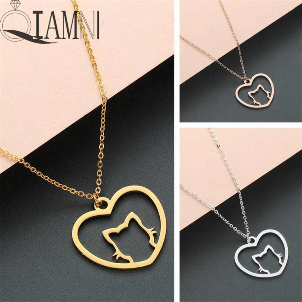 QIAMNI Novelty Lovely Animal Love Heart Cat Pendant Necklace Collars Minimalist Jewelry Souvenir Pet Lovers Charm Birthday Gift