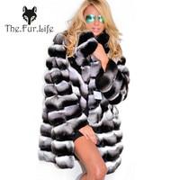 Fashion Style Real Fur Chinchilla Rex Rabbit Fur Coats Long Coats For Women Warm Thick Turn down Collar Fur Jackets And Coats
