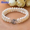 iVeeka 100% Natural Pearls Two Strands Bracelets 8mm~9mm Freshwater Pearls Vintage Fine Jewelry Bridal Wedding Accessories