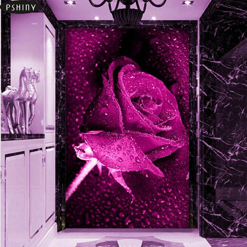 3c5c1f66edb Shiny 3D diamante pintura flor Cruz puntada kit cuadrado 5d DIY diamante  bordado mosaico rosa púrpura decoración de la boda F093